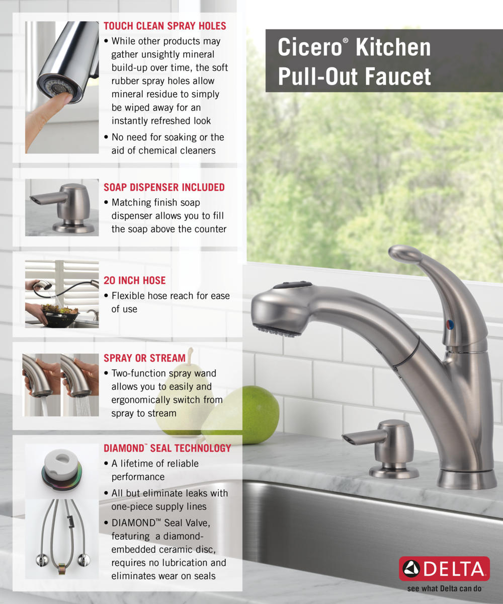 delta cicero single handle pull out sprayer kitchen faucet with home depot delta faucet pull out with soap dispenser kitchen infographic